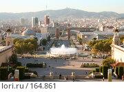 """Купить «Вид Барселоны вечером с горы Монтжуик (Montjuic) с так называемым """"волшебным фонтаном""""», фото № 164861, снято 21 сентября 2005 г. (c) Солодовникова Елена / Фотобанк Лори"""