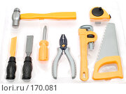 Купить «Набор игрушечных рабочих инструментов», фото № 170081, снято 8 января 2008 г. (c) Угоренков Александр / Фотобанк Лори