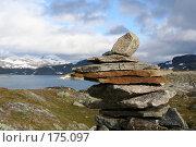 Купить «Пирамида из камней высоко в горах Норвегии», фото № 175097, снято 28 августа 2007 г. (c) Наталья Белотелова / Фотобанк Лори
