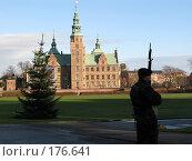 Часовой охраняет маленькую новогоднюю елочку у королевского замка (2007 год). Редакционное фото, фотограф Георгий Ильин / Фотобанк Лори