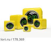 Купить «Пять желтых часов на белом фоне, 3D», иллюстрация № 178369 (c) Hemul / Фотобанк Лори
