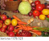 Купить «Фрукты-овощи», фото № 179121, снято 24 сентября 2006 г. (c) Юлия Подгорная / Фотобанк Лори