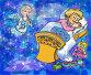 Ангел играет колыбельную для ребенка, спокойной ночи, приятных снов, иллюстрация № 179225 (c) Олеся Сарычева / Фотобанк Лори