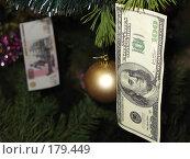 На новогодней ёлке висят игрушки и банкноты в сто долларов и пятьсот рублей. Стоковое фото, фотограф Георгий Ильин / Фотобанк Лори