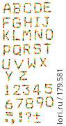Купить «Английский алфавит из разноцветных конфет», фото № 179581, снято 18 января 2008 г. (c) Мельников Дмитрий / Фотобанк Лори