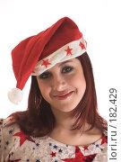 Купить «Девушка в шапке Деда Мороза», фото № 182429, снято 23 ноября 2006 г. (c) Коваль Василий / Фотобанк Лори