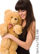 Купить «Девушка с плюшевым медведем на белом фоне», фото № 183149, снято 22 декабря 2007 г. (c) Валентин Мосичев / Фотобанк Лори