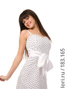 Купить «Девушка в платье с белым атласным бантом», фото № 183165, снято 22 декабря 2007 г. (c) Валентин Мосичев / Фотобанк Лори