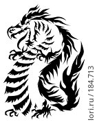 Купить «Черный силуэт - атакующий дракон, стоящий на задних лапах», иллюстрация № 184713 (c) Лукиянова Наталья / Фотобанк Лори