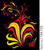 """Купить «Орнамент традиционного промысла Хохлома """"травка"""" или """"осочка"""" на черном фоне», иллюстрация № 184729 (c) Олеся Сарычева / Фотобанк Лори"""