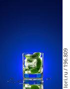Купить «Стакан со льдом и мятой», фото № 196809, снято 17 ноября 2018 г. (c) Григорий Сухарев / Фотобанк Лори