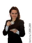 Купить «Девушка пьет чай на белом фоне», фото № 200289, снято 9 февраля 2008 г. (c) Арестов Андрей Павлович / Фотобанк Лори