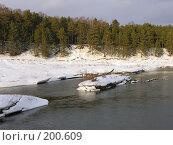 Купить «Сосновый лес и зимняя река», фото № 200609, снято 3 февраля 2008 г. (c) Сергей Самсонов / Фотобанк Лори