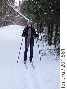 Купить «Лыжная прогулка в лесу», фото № 201561, снято 23 ноября 2019 г. (c) Мирослава Безман / Фотобанк Лори