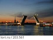 Купить «Санкт-Петербург. Вид на Неву, Дворцовый мост в белые ночи», фото № 203561, снято 10 июня 2005 г. (c) Александр Секретарев / Фотобанк Лори