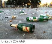 Купить «Бутылки, разбросанные по земле», фото № 207669, снято 2 января 2008 г. (c) Илья Благовский / Фотобанк Лори