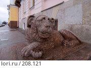 Купить «Гранитный лев у дома Лаваля на Английской набережной. Санкт-Петербург», эксклюзивное фото № 208121, снято 22 февраля 2008 г. (c) Александр Алексеев / Фотобанк Лори