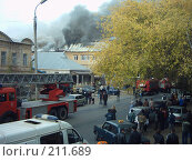 Купить «Пожар в старом квартале города Оренбурга», фото № 211689, снято 2 октября 2007 г. (c) Игорь Квятковский / Фотобанк Лори