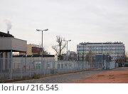 Купить «Охраняемая территория фабрики», фото № 216545, снято 6 марта 2008 г. (c) Алёна Фомина / Фотобанк Лори