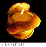 Декоративная свечка с апельсиновой коркой. Стоковое фото, фотограф lana1501 / Фотобанк Лори