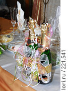 Купить «Сервировка свадебного стола», фото № 221541, снято 7 сентября 2007 г. (c) Федор Королевский / Фотобанк Лори