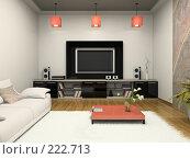 Купить «Интерьер современной гостиной с домашним кинотеатром», иллюстрация № 222713 (c) Hemul / Фотобанк Лори