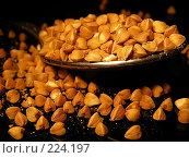 Купить «Гречневая крупа в ложке на черном фоне», эксклюзивное фото № 224197, снято 19 февраля 2008 г. (c) lana1501 / Фотобанк Лори