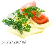 Купить «Свежая зелень, помидоры и сыр, изолированно», фото № 226189, снято 17 октября 2007 г. (c) Ольга Красавина / Фотобанк Лори