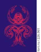 Купить «Красный узор на синем фоне», иллюстрация № 226961 (c) Наталья Кузнецова / Фотобанк Лори