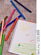 Купить «Детский рисунок в альбоме и фломастеры», иллюстрация № 233809 (c) Светлана Силецкая / Фотобанк Лори