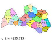 Купить «Латвия - цветная карта административного устройства с названиями центров (с крупными подписями)», иллюстрация № 235713 (c) Елена Киселева / Фотобанк Лори