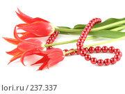 Купить «Тюльпаны и бусы на белом фоне», фото № 237337, снято 14 мая 2007 г. (c) Елена Блохина / Фотобанк Лори