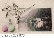 Купить «Пасхальная открытка - вид горного озера, украшенного традиционной пасхальной атрибутикой», фото № 239873, снято 20 февраля 2019 г. (c) Алла Матвейчик / Фотобанк Лори