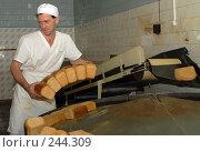 Купить «Хлебопек укладывает свежие буханки хлеба. Адыгея», фото № 244309, снято 14 сентября 2006 г. (c) Виктор Филиппович Погонцев / Фотобанк Лори