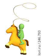 Купить «Стилизованный человечек-ковбой», иллюстрация № 246793 (c) Лукиянова Наталья / Фотобанк Лори