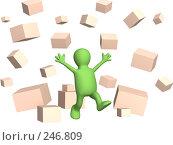Купить «Счастливый человечек среди абстрактных падающих коробок», иллюстрация № 246809 (c) Лукиянова Наталья / Фотобанк Лори