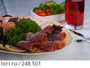 Купить «Нарезка мясных деликатесов, овощной салат и сок», фото № 248501, снято 22 июля 2004 г. (c) Иван Сазыкин / Фотобанк Лори