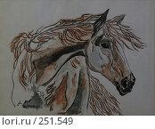 """Картина акварель """"Лошадь"""" Стоковая иллюстрация, иллюстратор Сергей Халадад / Фотобанк Лори"""