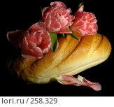 Купить «Натюрморт. Три тюльпана и батон белого хлеба.», эксклюзивное фото № 258329, снято 3 апреля 2008 г. (c) lana1501 / Фотобанк Лори
