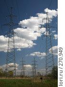 Купить «Облака над линиями электропередачи», фото № 270949, снято 26 апреля 2008 г. (c) Игорь Веснинов / Фотобанк Лори