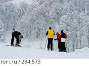 Купить «Красная Поляна. Лыжники», фото № 284573, снято 28 января 2006 г. (c) Андрей Бондаренко / Фотобанк Лори