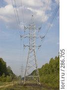 Купить «Просека с высоковольтной линией электропередач», фото № 286705, снято 12 мая 2008 г. (c) Эдуард Межерицкий / Фотобанк Лори