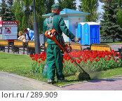 Купить «Рабочий  косит траву», эксклюзивное фото № 289909, снято 8 мая 2008 г. (c) lana1501 / Фотобанк Лори