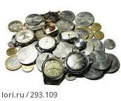 Купить «Груда монет и часов на белом фоне», фото № 293109, снято 18 мая 2008 г. (c) Павел Филатов / Фотобанк Лори