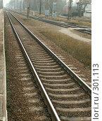 Купить «Железная дорога, уходящая в даль», фото № 301113, снято 4 ноября 2005 г. (c) Тарановский Д. / Фотобанк Лори