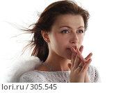 Купить «Девушка в образе ангела в мольбе», фото № 305545, снято 31 мая 2008 г. (c) Наталья Белотелова / Фотобанк Лори