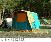 Купить «Яркая палатка в лесу», фото № 312753, снято 18 сентября 2018 г. (c) Вера Тропынина / Фотобанк Лори