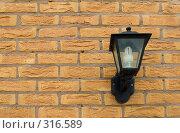 Купить «Уличный фонарь на кирпичной стене», фото № 316589, снято 11 мая 2008 г. (c) Галина Лукьяненко / Фотобанк Лори