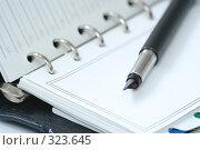 Купить «Ручка лежит на  блокноте», фото № 323645, снято 23 апреля 2008 г. (c) Останина Екатерина / Фотобанк Лори