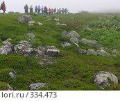 Купить «Соловки. Большой Заяцкий остров. Туристы  по экологической тропе  уходят в туман.», эксклюзивное фото № 334473, снято 11 июля 2007 г. (c) Тамара Заводскова / Фотобанк Лори